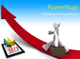 PowerPlugs: PowerPoint template with business growth in 2013, with blue color