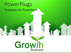 PowerPlugs: PowerPoint template with business growth depiction with upward arrows on green background