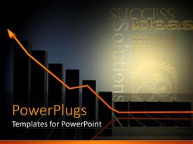 PowerPoint template displaying business growth metaphor with bar graph, gears, success, ideas, solutions