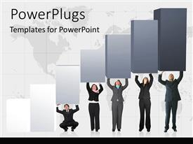 PowerPlugs: PowerPoint template with business growth metaphor with team of business paper holding up bar graph