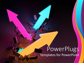 PowerPlugs: PowerPoint template with business growth upward trend metaphor with pink, orange and aqua arrows breaking through wall