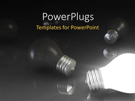 PowerPlugs: PowerPoint template with a number of bulbs with blackish background