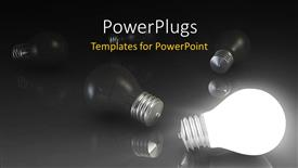 PowerPoint template displaying a number of bulbs with blackish background