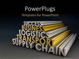PowerPoint template displaying business keywords Supply Chain Business Logistics in 3D