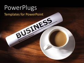 PowerPoint template displaying business magazine with successful business stories beside cup of coffee