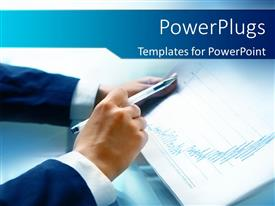 PowerPoint template displaying business man analyzing financial reports with blue color