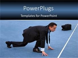 PowerPlugs: PowerPoint template with business man with bag bending in racing position over start line