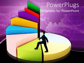 PowerPlugs: PowerPoint template with business man in black suit climbing up a pie chart consisting of spiral stairs, depicting concept of success with plain world map on purple background