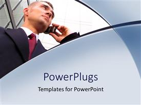 PowerPoint template displaying a business man on a black suite making a call