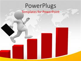 PowerPoint template displaying business man with briefcase jumping over bars with map in background, depicting growth