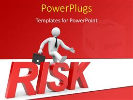 PowerPoint template displaying business man with briefcase jumping over obstacle and risk keyword with a dice in background