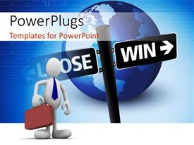 PowerPlugs: PowerPoint template with business man with briefcase and road sign over earth globe