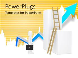 PowerPoint template displaying business man with briefcase stand before ladder and blue arrow in background
