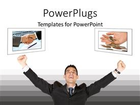 PowerPoint template displaying business man celebrating success, handshake, hands with coins