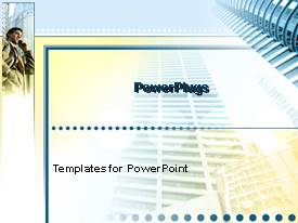 PowerPlugs: PowerPoint template with business man on cell phone next to large high rise building