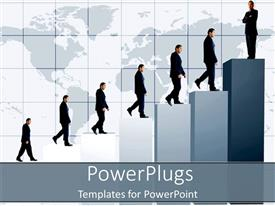 PowerPlugs: PowerPoint template with business man climbing graphic black and white suit increase profits sales