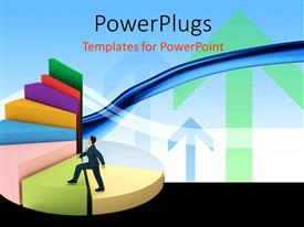 PowerPlugs: PowerPoint template with business man climbing spiral staircase three dimensional pie chart