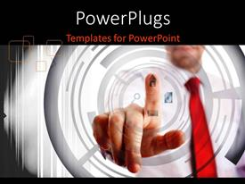 PowerPlugs: PowerPoint template with business man in corporate dress interacting with futuristic screen