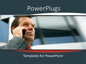 PowerPoint template displaying business man corporately dressed making a phone call over a blurry background
