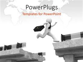 PowerPlugs: PowerPoint template with business man crossing hurdles with global map
