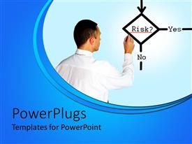 PowerPlugs: PowerPoint template with business man drawing a risk diagram with yes and no words connected to the risk word