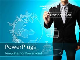 PowerPlugs: PowerPoint template with business man drawing Transportation with a globe, airplane and a ship