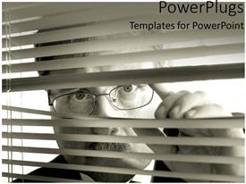 PowerPlugs: PowerPoint template with business man executive peeking through vertical blinds