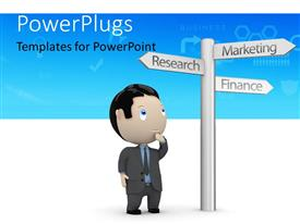 PowerPlugs: PowerPoint template with business man faced with choices with sign post of business directions