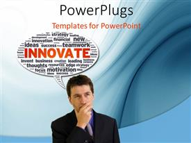PowerPlugs: PowerPoint template with business man with hand on chin and speech bubble with innovative terms
