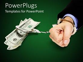 PowerPlugs: PowerPoint template with business man handcuffed to stack of US 100 dollar bills, green background