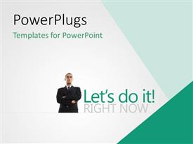 PowerPlugs: PowerPoint template with business man with hands folded across chest on white background
