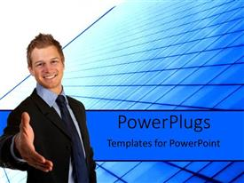 PowerPlugs: PowerPoint template with business man handshake blue background building glass teamwork