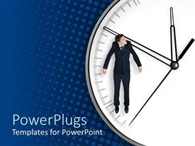 PowerPlugs: PowerPoint template with business man hanging on arrow of a white clock on blue polka dot background