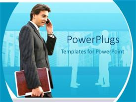 PowerPoint template displaying business man holding a brown file and making a phone call
