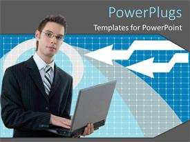 PowerPoint template displaying a business man holding an open laptop with his hand on the keyboard