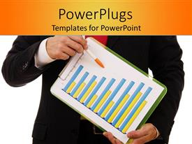 PowerPoint template displaying business man holding a paper and pen with a bar chart