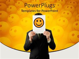 PowerPoint template displaying business man holding paper with yellow smiley in front of face