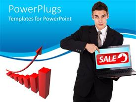 PowerPoint template displaying business man holding and pointing at a laptop with a sale text