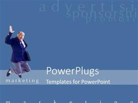 PowerPoint template displaying business man holding side bag jumps up joyful forsuccessful marketing