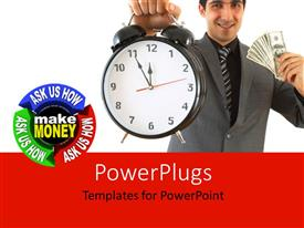 PowerPlugs: PowerPoint template with a business man holding up a clock and some dollar bills