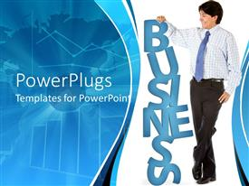 PowerPoint template displaying business man leaning on a blue colored BUSINESS text