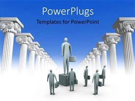 PowerPlugs: PowerPoint template with business man look up at man on platform in admiration