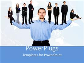 PowerPlugs: PowerPoint template with business man with opened arms holding business people on hands