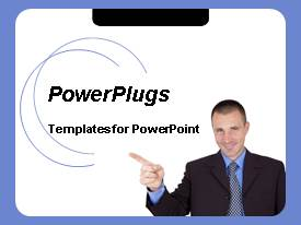 PPT layouts featuring business man pointing index finger on white background with blue frame