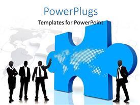 PowerPlugs: PowerPoint template with business man presenting with world map over blue puzzle piece