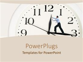 PowerPlugs: PowerPoint template with business man pushing back the hand of large clock