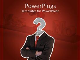 PowerPlugs: PowerPoint template with business man with question mark head, decision making metaphor