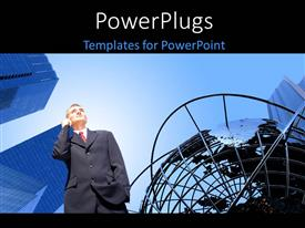PowerPoint template displaying a business man receiving a phone call under a blue sky
