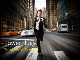PowerPlugs: PowerPoint template with business man running down middle of city street