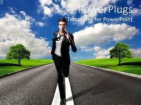 PowerPoint template displaying business man running in middle of tarred road with cloudy sky